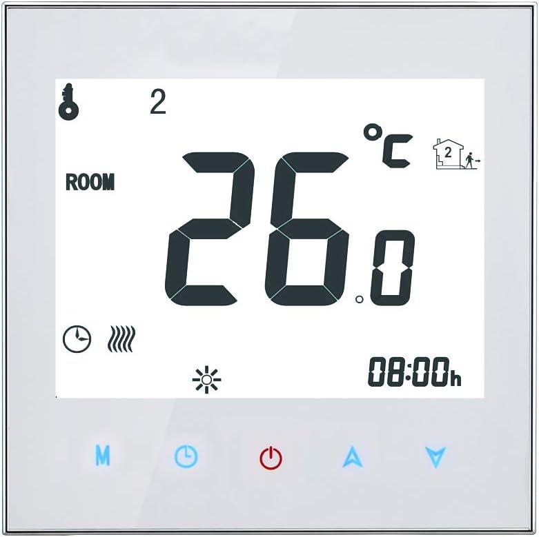 Kecheer Termostato para caldera de gas/agua programable,termostatos inteligentes para calderas gas,pantalla táctil