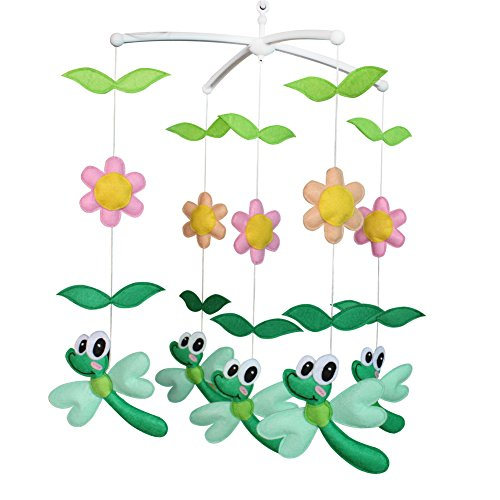 Colorful Decor Gift, Crib Mobile, [Flowers and Dragonfly] Exquisite Baby Toy ()