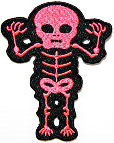 Pink Skeleton Bone Baby Skull Day Of The Death Love Never Die Rockabilly Lady Rider Hippie Punk Tatoo Jacket T-shirt Patch Sew Iron on Embroidered Sign Badge Costume -