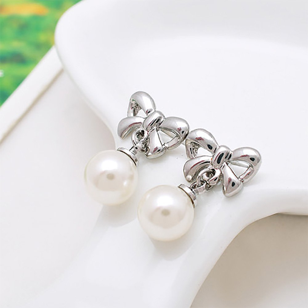 24723 Glamorousky Stylish Mothers Day Bow Fashion Pearl Necklace and Earrings