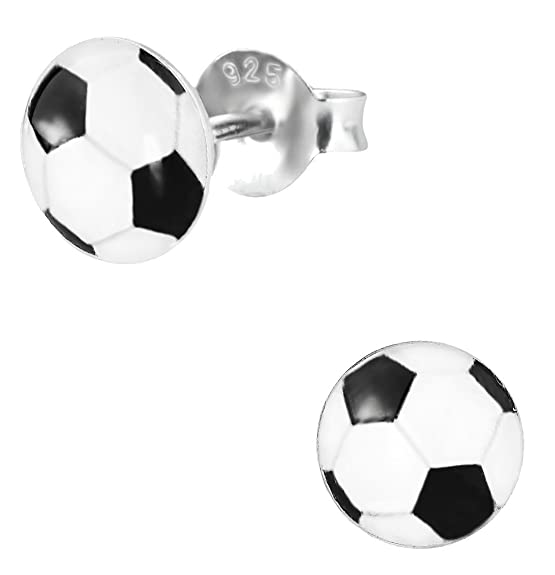 Hypoallergenic Sterling Silver Soccer Ball Stud Earrings (Nickel Free)