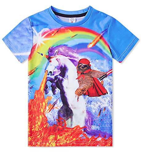 Enlifety Fashionable Children Tops Tee Shirts Rainbow Unicorn Pull on Closure Blouse Sports Orange Shirts Funny Tees 6T-8T - Orange School Pride T-shirt