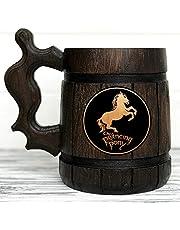 Prancing Pony Mug. Lord of the Rings Gift. The Prancing Pony Wooden Hobbit Mug. Frodo Prancing Pony Pub Inspired Tankard. Beer Mug. LOTR Gift. Beer Tankard Wooden Stein 75/0.6L / 650mls
