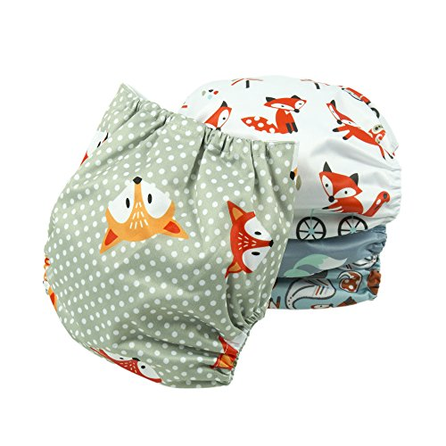 BIG ELEPHANT 4 Pack Baby Animals Print Reusable Cloth Pocket Diapers PD-06A