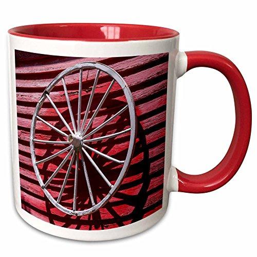 3dRose Danita Delimont - Western - Wagon Wheel, Saugatuck, Michigan, USA. - 15oz Two-Tone Red Mug ()
