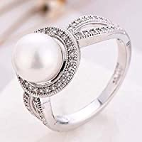 Women Pearl & White Sapphire 925 Sterling Silver Ring Wedding Party Jewelry New Size 6-10 (6)