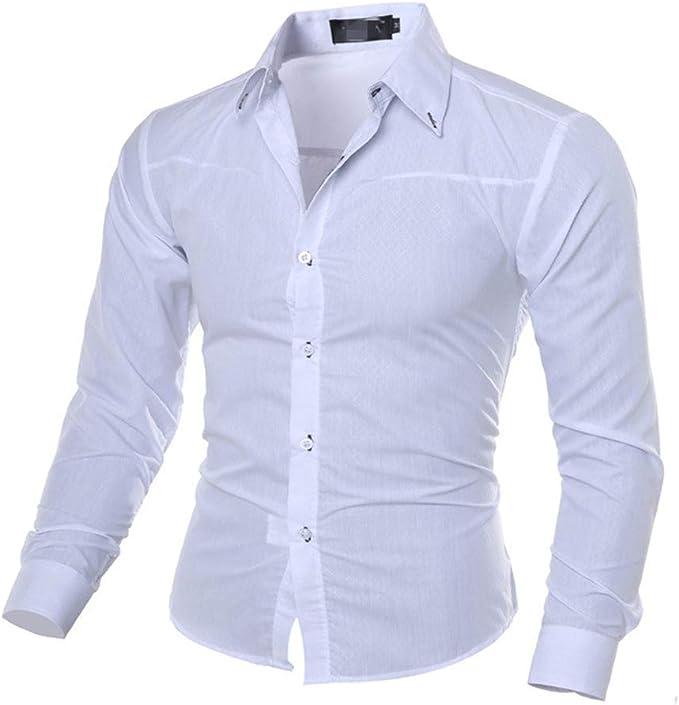qulvyushangmaobu Camisa Formal con Botones para Hombres ...