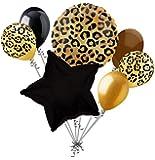 7 pc Tan Cheetah Print Balloon Bouquet Happy Birthday Baby Shower Animal Leopard