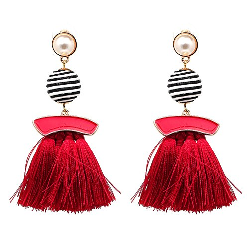 Tassel Earrings Cute Dangle Crystal Earring Thread Jewelry Bohemian Drop Earrings (Classic red) ()