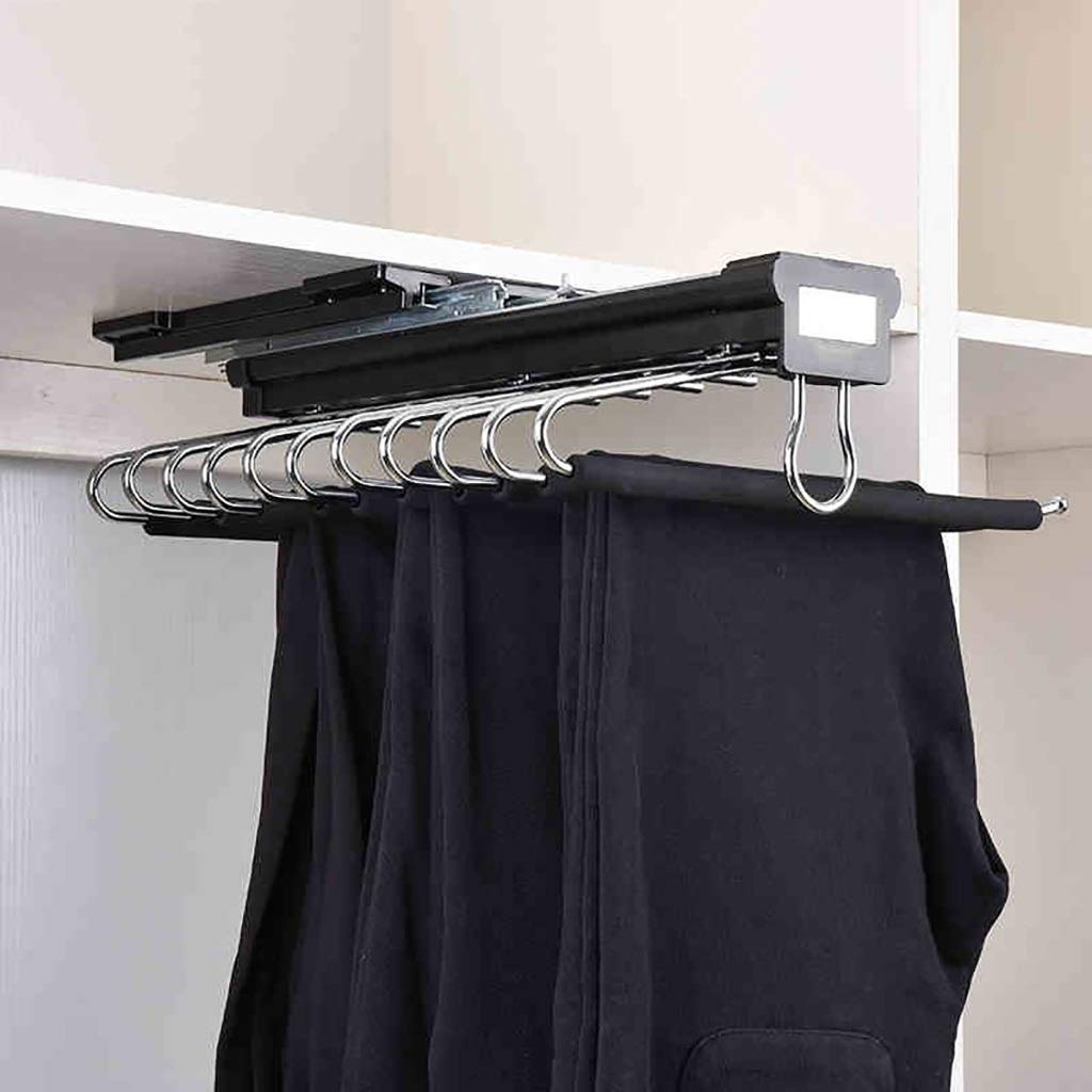 Pull Out Trousers Rack 11 Pairs Pants Holder Hanger Rail with Damper Organizer Rack for Wardrobe-Black