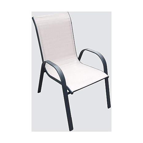 Amicasa. Silla de jardín sillón Exterior de Hierro Apilable ...
