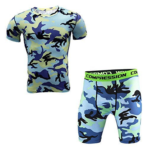 1Bests Men's Sportswear Gym Workout Running Compression Tracksuit Quick-Drying Short Sleeve T Shirt Shorts Camo Tight Sets – DiZiSports Store