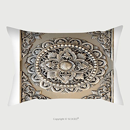 Custom Satin Pillowcase Protector Decorative Art Of Lanna Thai Engraving Of The Silver Value 98181977 Pillow Case Covers Decorative by chaoran