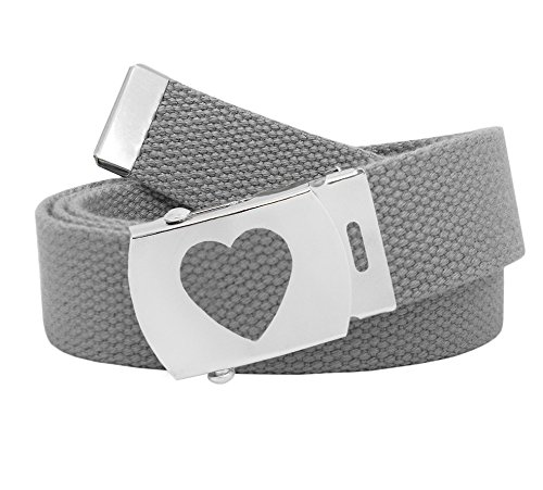 Girl's School Uniform Silver Slider Heart Belt Buckle with Canvas Web Belt Large Gray