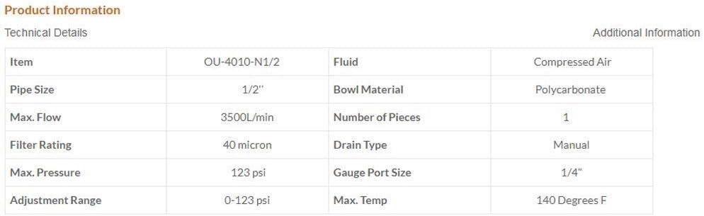 Miniature Precise OU-4010-N1//2 Pneumatic 1//2 Filter Regulator Lubricator
