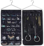 black magic ring - Pinklover Jewelry Organizer Hanging Bag Double Sided 40 Pockets & 20 Magic Tape Hook Storage Bag Closet Storage Earrings Necklace Bracelet Ring Display Pouch-Huston Lowell (Black)