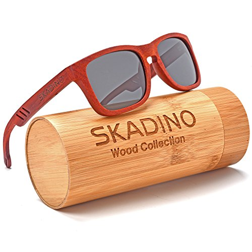 SKADINO Wood Sunglasses for Women&Men with Polarized lenses-Handmade Floating Wood Shades-Red Rose - Handmade Sunglasses Wood
