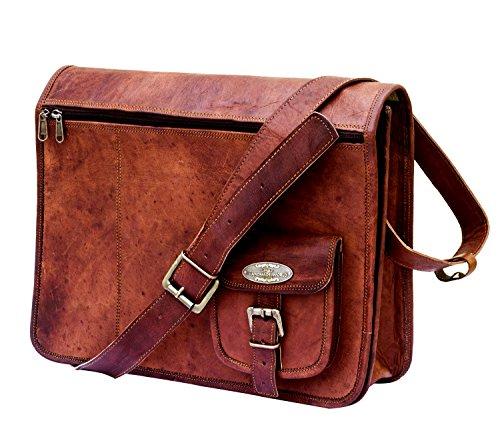 Handmade World Leather Messenger Bags 15 Inch for Men Women Mens Briefcase Laptop Computer Satchel School Distressed Bag