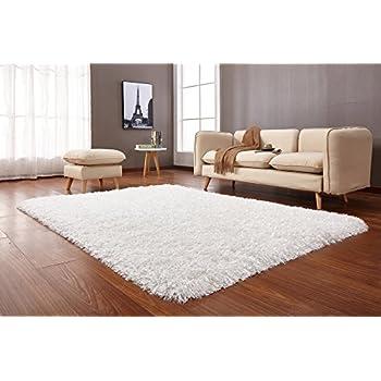 Amazon Com La Rug Linens White Shaggy Shag Area Rug 8x10