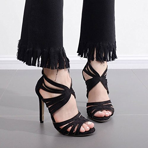 Chaussures Hairtail Fermeture Tout Concorde 5Cm Imperméables 8 Des KHSKX La Des Chaussures Noir En La Sandales Daim Argenté Hauts five Bien Thirty Sabre De Talons Après Bouche Avec x1xU87qR