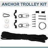 Kayak Anchor Trolley Kit, 10M Ropes Pad Eyes Taping Screws Anchor Pulley Snap Hook for Canoes Boats