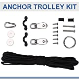 VGEBY Kayak Anchor Trolley Kit, 10M Ropes Pad Eyes Taping Screws Anchor Pulley Snap Hook for Canoes Boats