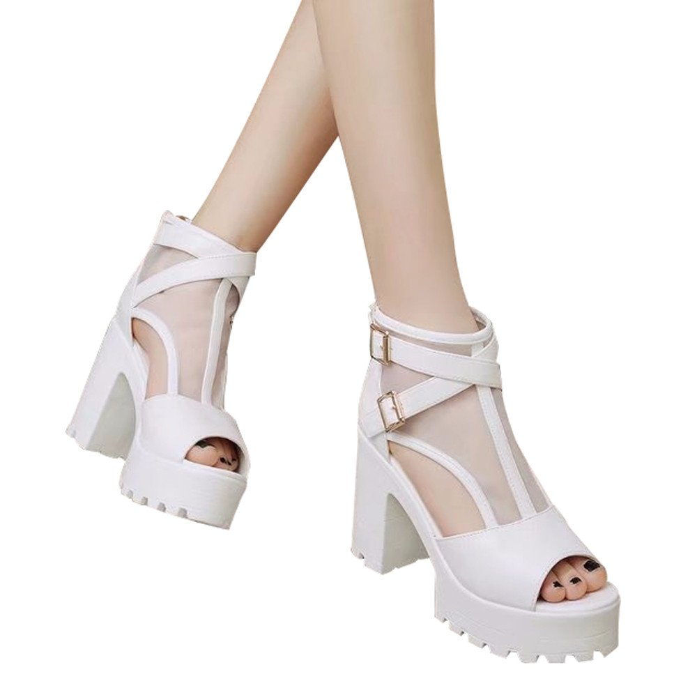 Booties For Womens -Clearance Sale ,Farjing Women Fish Mouth Platform High Heels Wedges Sandals Buckle Strap Shoes Booties(US:5.5,White )