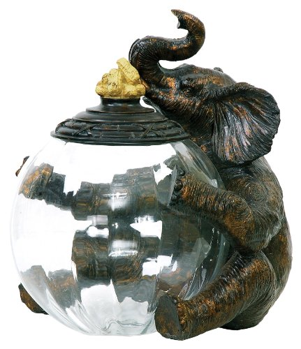 Sterling 91-2264 Composite/Glass Elephant Storage Jar, 9 by 12-Inch by Sterling