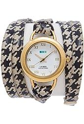 La Mer Collections Women's LMSATURN1550 Houndstooth-Gold Saturn Wrap Watch