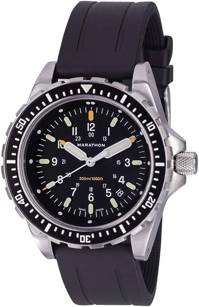 Marathon - SKU - WW194018 - Reloj JSAR, fabricado en Suiza, uso militar, Jumbo Diver's LGP, con iluminación MaraGlo y cristal de zafiro, 46 mm (correa de goma)