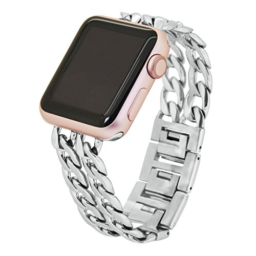 Apple Watch Band, Aokay 38mm Stainless Steel Metal Cowboy Chain Band for Apple Watch Series 2 Series 1 38mm, Silver