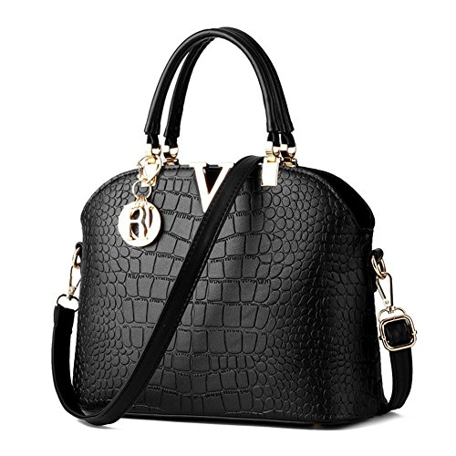 Rubysports Fashion Crossbody Bags for Women Pu Leather Girls Evening Handbag Black V