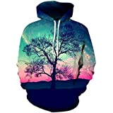 Kisscy Women's Autumn Fall Tree Printed Drawstring Hooded Sweatshirt Hoodies XXL Pink