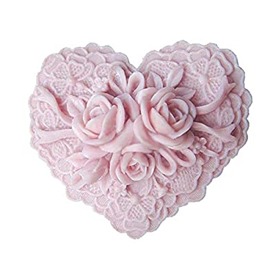 Silicone Soap Art Clay Craft Mold Heart Shape Delicate Floral Pattern by Baigio woman