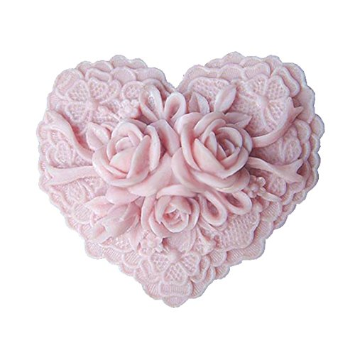 - Beautiful Delicate Flower Floral Heart Shape Silicone Soap Mold Craft DIY Handmade Soap Molds
