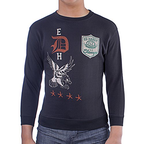 Ed Hardy Big Boys' Eagle Pullover Sweatshirt- Black - Large