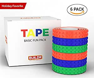 Toy Building Block Tape, Fun Pack of Reusable Self Adhesive Block Tape Rolls for Kids :: Cut, Peel, Stick & Create Anywhere :: Compatible with KRE-O, Mega Bloks, DUPLO, & Lego Bricks (6 rolls)