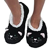 Snoozies Womens Animal Heads Sherpa Plush Fleece Lined Slipper Socks - Black Cat, Large