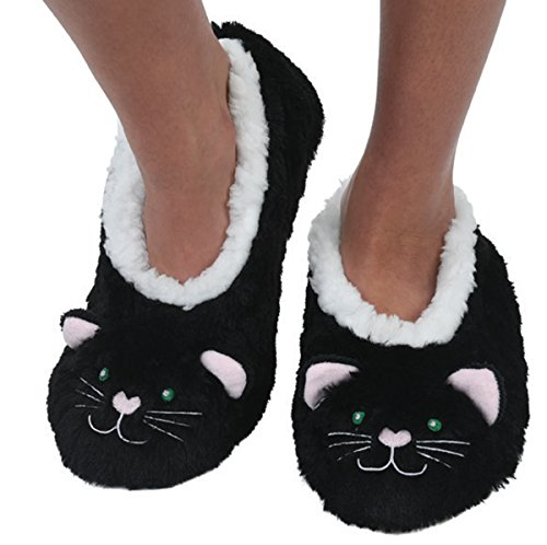 Snoozies Womens Animal Heads Sherpa Plush Fleece Lined Slipper Socks