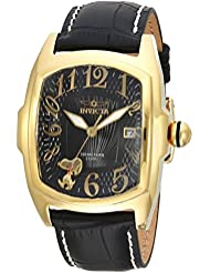 Invicta Mens Character Collection Quartz Stainless Steel and Leather Casual Watch, Color:Black (Model: 25025)