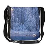 Lovebbag Swans Swims Lake Dusk Forest Dramatic Idyllic Nature Icy Snowy Weather Rural Crossbody Messenger Bag