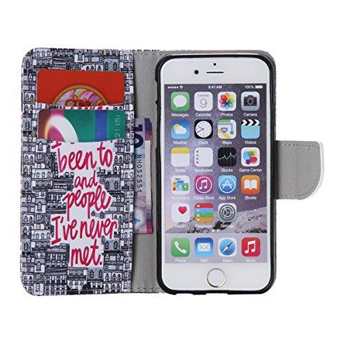 """iPhone 6 / iPhone 6S (4.7"""") Coque , Apple iPhone 6 / iPhone 6S (4.7-inch) Coque Lifetrut® [ rétro Bâtiment ] Luxe Premium Portefeuille Flip mignon Coque TPU souple Folio en cuir PU intégré dans la car"""