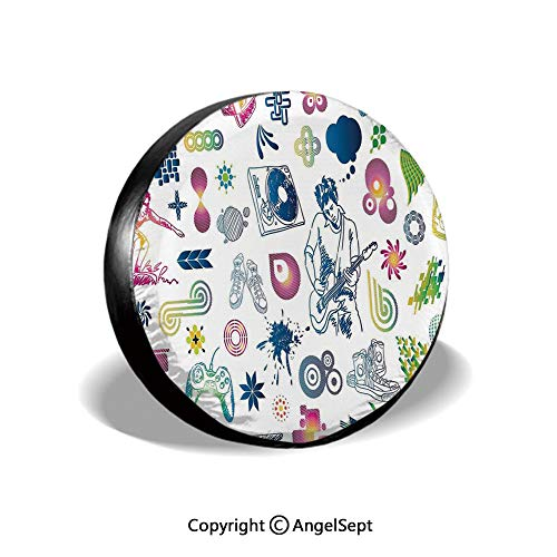 Spare Tire Cover,Modern Decor Boy Teenager Guitarist with Butterflies Playstation Ombre Digital Image,Multicolor,for Jeep Trailer SUV RV and Many Vehicles,14 Inch