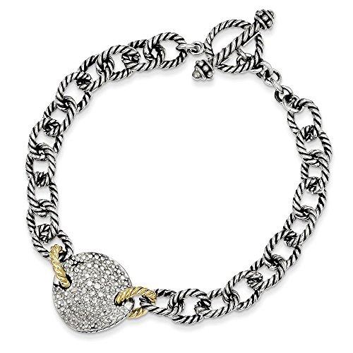 925 Sterling Silver 14k .035ct. Diamond 7.5 Inch Link Bracelet Fancy Charm W/charm Fine Jewelry Gifts For Women For - Cufflinks Diamond Rose