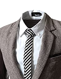 TheLees (LLPJ) Mens Casual Faux leather patched 2 Button Blazer Brown US XS(Tag size M)