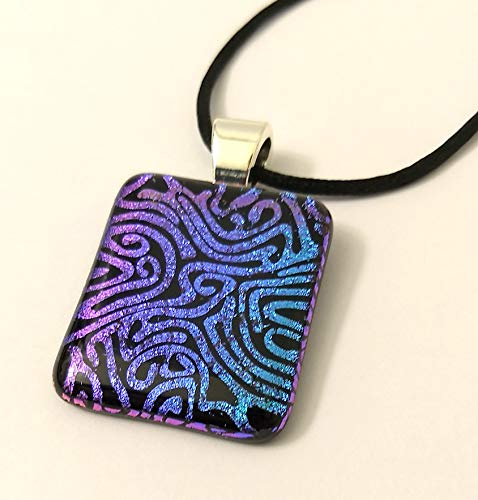 (Blue and Purple Dichroic Glass Swirls Pendant Necklace)