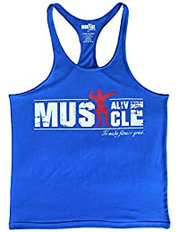 MUSCLE ALIVE Mens Bodybuilding Stringer Tank Tops Cotton Racerback