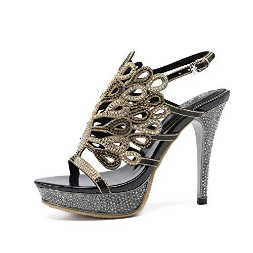 fa926ba5f8 Zapatos de Mujer Rhinestone Cuero Verano Nuevo Rhinestone Hollows Sandalias  Sexy Diamante de Tacón Alto Dedo