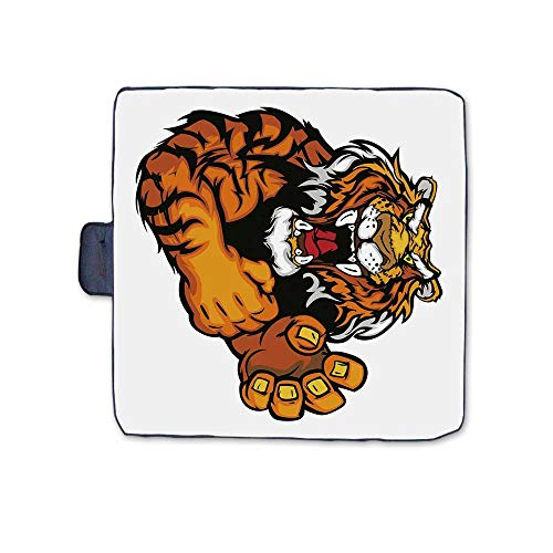 Tiger Stylish Picnic Blanket,Cartoon Styled Very Angry Muscular Large Cat Fighting Mascot Animal Growling Print Decorative Mat for Picnics Beaches Camping,58