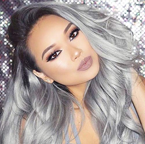 Annivia Dark Roots Ombre Grey Lace Front Wig for Women Heat Resistant 4.5inch Deep Side Part Long Hair Synthetic Lace Front Wigs Wavy